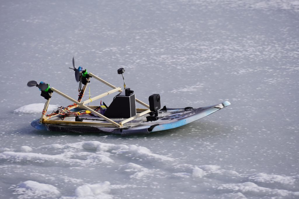 RC airboat on ice